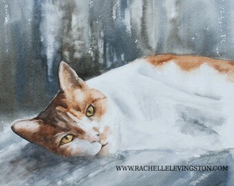 cat art print cat PRINT art cat for her Watercolor painting cat painting cat wall art cat artwork sleeping painting kitten orange 8x10 dp