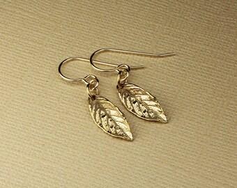 Gold earrings gold leaf earrings leaf nature botanical jewelry leaf drop earrings leaf charm dangle earrings gold dangle drop earrings leaf
