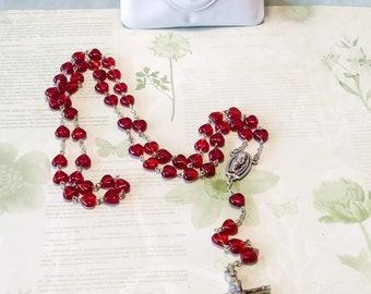 Vintage 5 Decade Glass Heart Bead Rosary/vintage rosary/rosary beads/prayer beads/five decade rosary/cross/cross necklace/crucifix/catholic