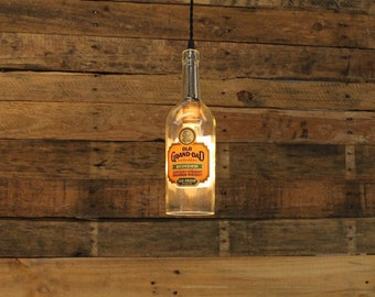 Old Grand Dad Whiskey Bottle Pendant Light - Upcycled Industrial Hanging Light - Handmade Whiskey Bottle Light Fixture, Home Bar Lighting
