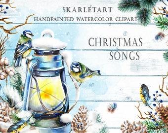 Christmas Clipart Watercolor Christmas Clip Art Xmas Mint Blue Gold Christmas lantern feather Bird Handpainted Ornaments Fashion Blog