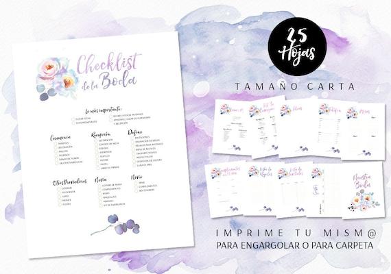 planificador de boda con flores en acuarela agenda de boda