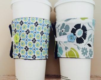 Coffee Cup Cozy, Mug Cozy, Coffee Cup Sleeve, Cup Cozy, Cup Sleeve, Reusable Coffee Sleeve - Navy Flowers [26-27]