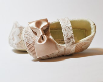 Toddler Girl Shoes Baby Girl Shoes Soft Soled Shoes Lace Wedding Shoes Easter Shoes Flower Girl Shoes Ivory Cream Champagne Shoes - Sara