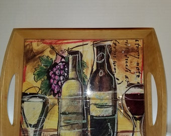 Wooden Serving Tray with 4 Ceramic Wine Tiles as Tray Bottom.