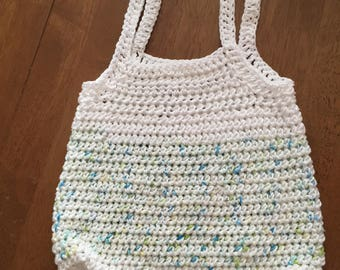 Striped Market Bag/ Crocheted Market Bag/ White Hobo Bag