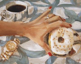 Art Print Reproduction // Midmorning Snack // From Original Acrylic Painting // Food Art // 22 cm x 17 cm // Cynthia Katz