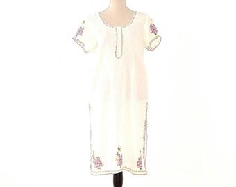 Vintage Sari Top - Boho Embroidered Tunic - Boho Hippie Sheer Gauze Embroidered Dress - Vintage Embroidered Tunic Dress