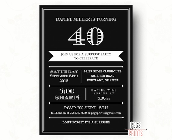 40th Surprise Birthday Invitation for Men Printable Adult