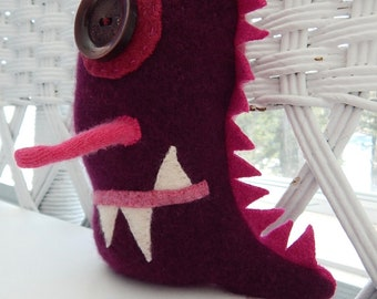 Recycled Cashmere Monster Tooth Fairy Pillow -  Burgundy and Raspberry Pink