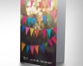 Birthday Card - Cake Happy Fun Eat Bunting Celebration Blank Card CP2766