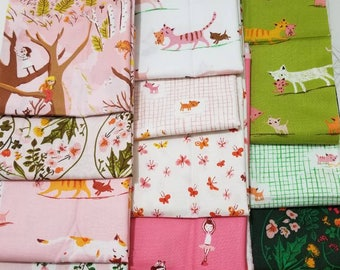 Heather Ross TIGER LILY 13 Fat Quarter Bundle moda cotton quilting fabric VHTF