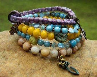Boho Czech Bead Stretch Bracelets