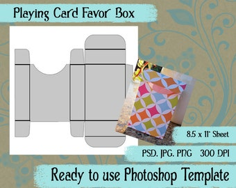 Photoshop Template Playing Card Favor Box in JPG, PNG, PSD