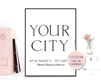 Personalized home sign, Custom city poster, Custom city print, Personalized city poster, Design custom wall decor, GPS coordinates custom