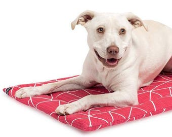 Dog Crate Mat Designer Fabric / Red White Dog Bed / Ruby Dog Crate Pad / Washable Dog Mat / Travel Dog Bed / Royal Pink Merlin Mat
