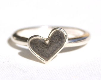 Stackable Band Cremation Ring with 8 x 10mm Signature Heart Setting - Sterling Silver Pet Cremation Jewelry