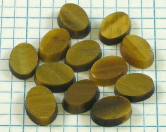 12 8x6mm Tiger's Eye Flat Cabochons