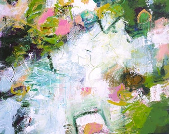 """ABSTRACT PAINTING """"Love"""" 30 x 40 canvas ORIGINAL Art by Elizabeth Chapman"""