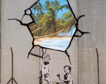 Banksy, West Bank Wall Graffiti Art, Giclee Print on Canvas, various sizes