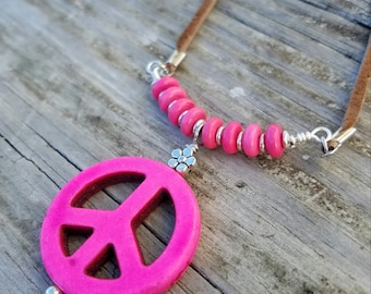 Leather n Pink Peace Sign Necklace