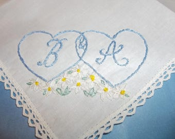 Heart hanky, something blue, monogrammed hearts, wedding handkerchief, hand embroidery, daisy flowers, blue for bride, bridal gift, favor