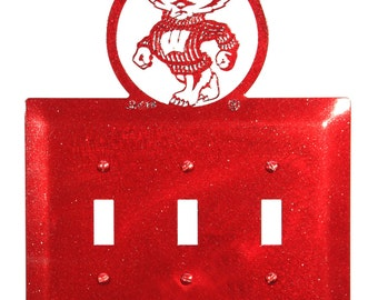 Wisconsin Badgers Badger Bucky Light Switch Triple Plate Cover