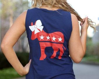 Democratic Donkey Comfort Colors Pocket Tank - Democrat - Dems - Bow