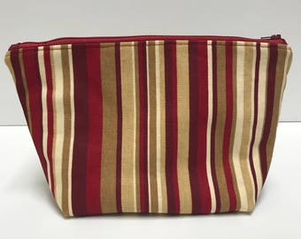 Red and Brown Striped Large Cosmetic Bag, Gift for her, Birthday Gift, Toiletry Bag, Large Cosmetic Bag, Travel Bag, Makeup Bag Large