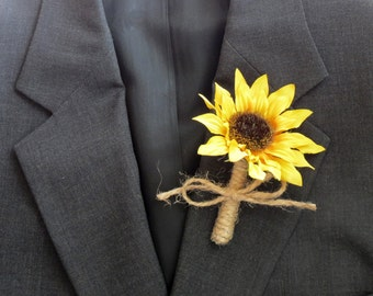 Sunflower Boutonniere, Twine Wrapped Boutonniere, Grooms Flower, Sunflower Wedding, Father of the Bride