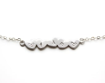 Personalized Bracelet Five Hearts Bracelet Hearts Row Bracelet Personalized Hearts Family Initials Bracelet Bridesmaids Bracelet Heart Jewel