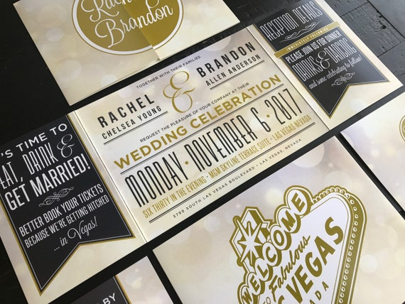 Vegas Wedding Invitation: Las Vegas Custom Fold Wedding Invitations Married In Vegas