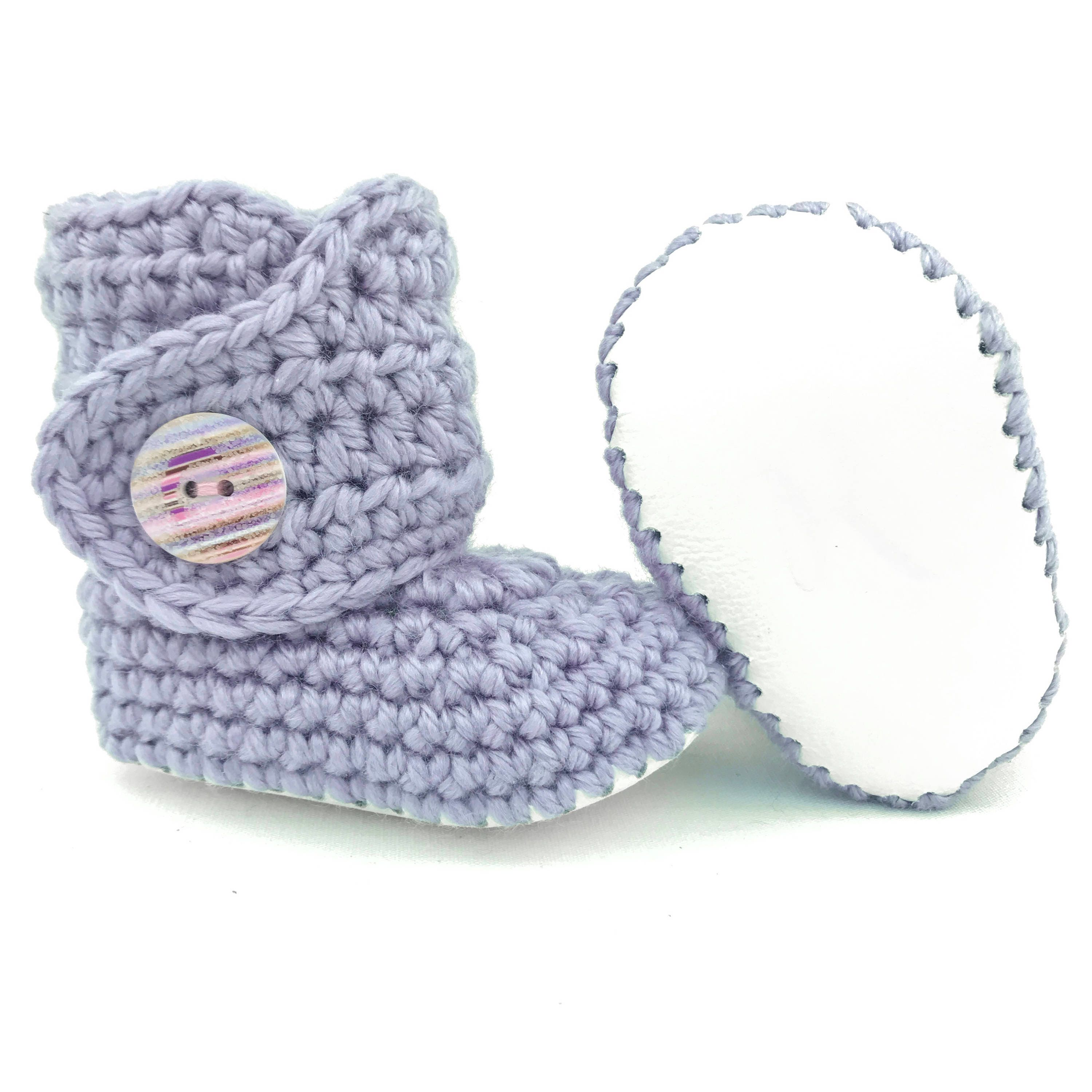 Baby Girl Booties Purple Infant Shoes White Leather Soft