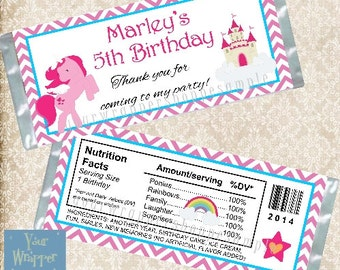 Little Pony Ponies Candy Bar Wrappers with Foil Sheets Party Favors Custom Personalized