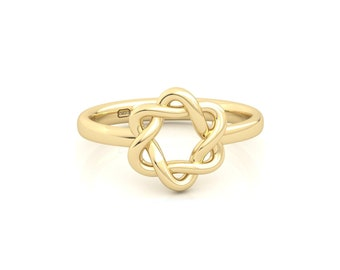 Rounded Interwoven Star of David Ring