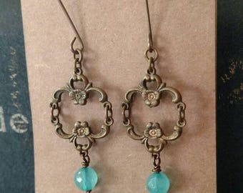 1966 French 1/2 Franc Earrings with Vintage Brass Findings and Blue Apatite