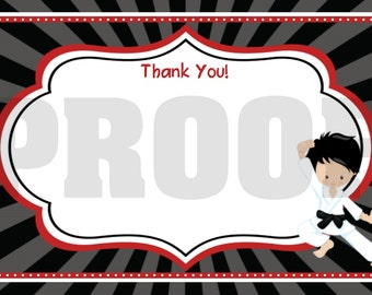 INSTANT DOWNLOAD - Thank You Card - Karate - print your own