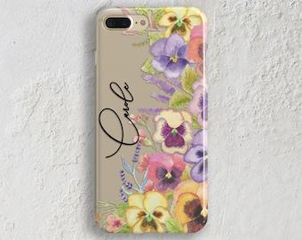 Clear iPhone X case Transparent phone case Purple pansies spring iPhone case iPhone 7 case iPhone 8 case Samsung S8 Case S7 Case (1836)