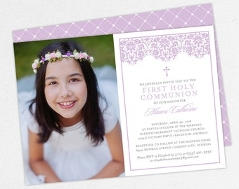 Photo Communion Invitations, Purple Communion Invitations, Printable Communion Invitations, Lace Communion Invitations, Damask Invitations