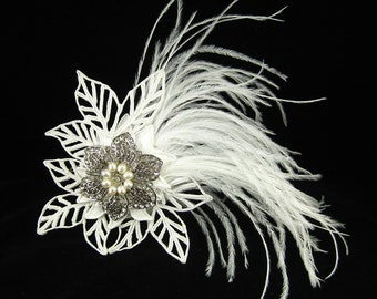 Snowflake Feather Bridal Hair Comb - Make to order
