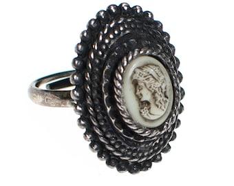 Vintage Silver Tone Cameo Ring, Adjustable, Victorian Revival