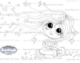 INSTANT DOWNLOAD digitale Digi Stamps Big Eye Big hoofd poppen Bestie Img5082 mijn Besties door Sherri Baldy