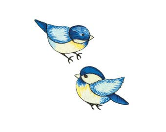 Blue Birds Iron On Applique, Birds Iron On Patch, Bird Applique, Kids Patch, Embroidered Patch, Pack of 2