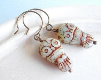 Czech Glass Owl Earrings - Whooo Goes There?