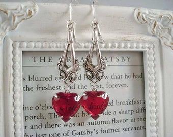 Red Heart Earrings Valentine's Day Earrings Red Rhinestone Heart Earrings Heart Jewelry Vintage Heart Earrings