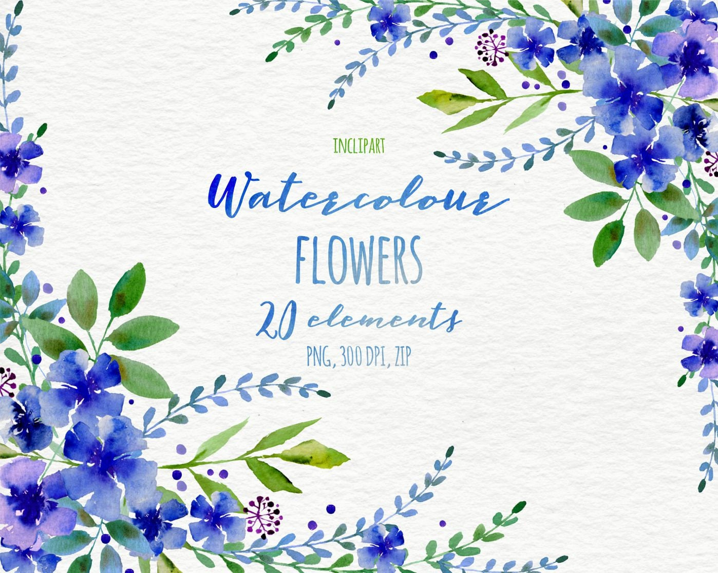 Watercolor flower clipart floral wreath corner garland zoom izmirmasajfo Gallery