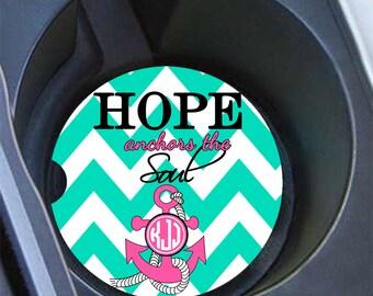 Hope anchors the Soul, Monogram car coaster, Inspirational car decor, Chevron auto accessory, Turquoise car coaster, Pink cup coaster (1418)