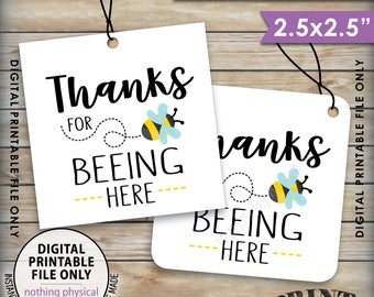 "Thanks for BEEing Here Cards or Tags, Bee Birthday Party, Bee Baby Shower, Bumble Bee Party, 2.5"" tags on 8.5x11"" Printable Instant Download"