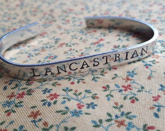 Lancastrian English Royalty Wars of the Roses Handstamped Aluminium Cuff Bracelet
