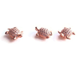 1 Clear CZ Brass Micro Pave Cubic Zirconia Tortoise bead, Jewelry Making Supply, Rose Gold, Lead, Cadmium & Nickel Free